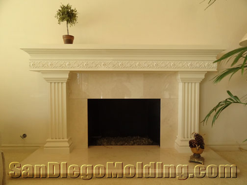 fireplace mantles - San Diego Molding-Precast Stone Fireplace Mantles